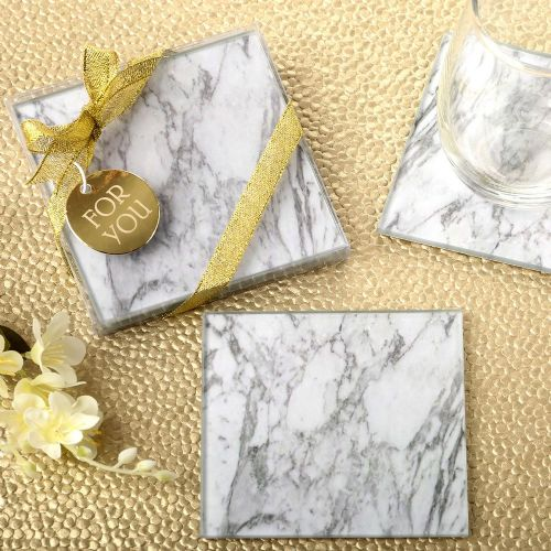 Marble Design Glass Coasters Table Gift Favor Set of 2